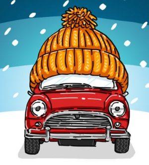 Машина в гараж зимой